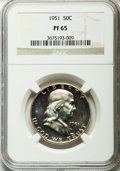Proof Franklin Half Dollars: , 1951 50C PR65 NGC. NGC Census: (735/807). PCGS Population(979/660). Mintage: 57,500. Numismedia Wsl. Price for problemfre...