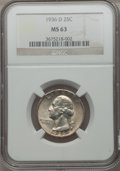 Washington Quarters: , 1936-D 25C MS63 NGC. NGC Census: (187/518). PCGS Population(308/1091). Mintage: 5,374,000. Numismedia Wsl. Price for probl...