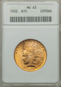 Indian Eagles: , 1932 $10 MS63 ANACS. NGC Census: (24574/14264). PCGS Population(18929/10410). Mintage: 4,463,000. Numismedia Wsl. Price fo...