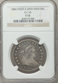 Early Half Dollars: , 1806 50C Pointed 6, Stem Fine 15 NGC. O-116. NGC Census: (64/972).PCGS Population (85/847). Mintage: 839,576. Numismedia W...