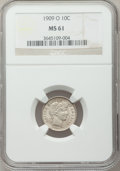 Barber Dimes: , 1909-O 10C MS61 NGC. NGC Census: (9/73). PCGS Population (3/89).Mintage: 2,287,000. Numismedia Wsl. Price for problem free...