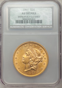 1861 $20 -- Improperly Cleaned -- NCS. AU Details. NGC Census: (246/1967). PCGS Population (211/908). Mintage: 2,976,453...