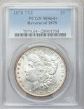 Morgan Dollars: , 1878 7TF $1 Reverse of 1878 MS64+ PCGS. PCGS Population (2564/540).NGC Census: (3510/508). Mintage: 4,900,000. Numismedia ...