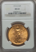 Saint-Gaudens Double Eagles: , 1915-S $20 MS64 NGC. NGC Census: (5542/1765). PCGS Population(4242/2161). Mintage: 567,500. Numismedia Wsl. Price for prob...