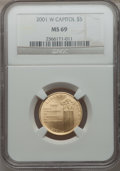 Modern Issues, 2001-W $5 Capitol Visitor's Center Gold Five Dollar MS69 NGC. NGCCensus: (895/1109). PCGS Population (2798/232). Numismed...