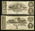 Confederate Notes:1863 Issues, T59 $10 1863 PF-19 Cr. 442. T60 $5 1863 PF-21 Cr. 459.. ... (Total:2 notes)