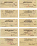 Movie/TV Memorabilia:Autographs and Signed Items, An Orson Welles Group of Canceled Signed Checks, 1956....