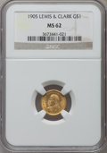 Commemorative Gold: , 1905 G$1 Lewis and Clark MS62 NGC. NGC Census: (219/877). PCGSPopulation (267/1433). Mintage: 10,000. Numismedia Wsl. Pric...