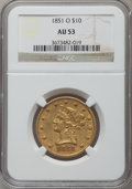 Liberty Eagles: , 1851-O $10 AU53 NGC. NGC Census: (151/304). PCGS Population(40/73). Mintage: 263,000. Numismedia Wsl. Price for problem fr...