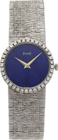 Estate Jewelry:Watches, Piaget Lady's Diamond, Lapis Lazuli, White Gold Integral Bracelet Wristwatch. ...