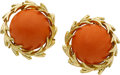 Estate Jewelry:Earrings, Coral, Gold Earrings, David Webb. ...