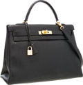 Luxury Accessories:Bags, Hermes 35cm Black Ardennes Leather Retourne Kelly Bag with GoldHardware. ...