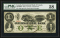 Canadian Currency: , Toronto, CW- The International Bank of Canada $1 Sep. 15, 1858 Ch.# 380-10-06-08. ...