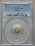 California Fractional Gold: , 1856 25C Liberty Round 25 Cents, BG-229, R.4, MS64 PCGS. PCGSPopulation (11/2). NGC Census: (3/0). ...