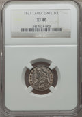 Bust Dimes: , 1821 10C Large Date XF40 NGC. NGC Census: (12/170). PCGS Population(22/157). Mintage: 1,186,512. Numismedia Wsl. Price for...