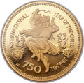 Mongolia, Mongolia: People's Republic gold Proof Piefort 750 Tugrik 1980,...