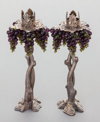 A PAIR OF STEPHEN DWECK BRONZE AND GLASS CANDLESTICKS Stephen Dweck, New York, New York, circa 1996 Marks: S