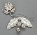 Silver Smalls:Other , A JANNA THOMAS MEXICAN SILVER CHRISTMAS ORNAMENT AND LADIES PIN.Janna Thomas, Taxco, Mexico, mid-20th century. Marks: JAN...(Total: 2 Items)