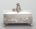 Other:American, A JAMES W. TUFTS SILVER-PLATED DRESSER BOX WITH HINGED LID. JamesW. Tufts, Boston, Massachusetts, circa 1885. Marks: JAME...