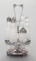 Other:American, A GORHAM MEDALLION PATTERN SILVER-PLATED CRUET STAND WITHSIX ORIGINAL GLASS BOTTLES. Gorham Manufacturing Co., ... (Total: 7Items)