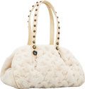 Luxury Accessories:Bags, Louis Vuitton 2005 Limited Edition White Mink & CabochonMonogram Vison Matelasse Demi Lune Bag. ...