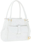 Luxury Accessories:Bags, Loro Piana White Ostrich Globe Tote Bag with Gold Hardware. ...