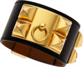 Luxury Accessories:Accessories, Hermes Black Swift Leather Collier de Chien Bracelet with Gold Hardware. ...