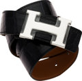 Luxury Accessories:Accessories, Hermes 90cm Shiny Black Porosus Crocodile H Belt with Palladium Hardware. ...