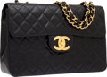 Luxury Accessories:Bags, Chanel Black Quilted Lambskin Leather Maxi Single Flap Bag withOversize CC Gold Hardware. ...