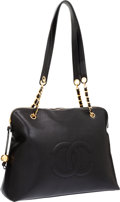 Luxury Accessories:Bags, Chanel Black Caviar Leather Large CC Tote Bag with Gold Hardware....
