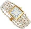 Luxury Accessories:Accessories, Chanel 18k Yellow Gold Mademoiselle Watch with Pearl Strap. ...