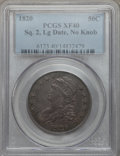 Bust Half Dollars, 1820 50C Square Base 2, No Knob, Large Date XF40 PCGS. PCGSPopulation (19/81). ...
