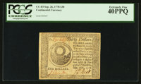 Continental Currency September 26, 1778 $30 PCGS Extremely Fine 40PPQ