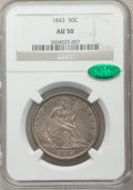 Seated Half Dollars: , 1843 50C AU50 NGC. CAC. NGC Census: (11/124). PCGS Population(24/131). Mintage: 3,844,000. Numismedia Wsl. Price for probl...
