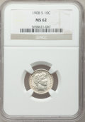 Barber Dimes: , 1908-S 10C MS62 NGC. NGC Census: (10/42). PCGS Population (21/74).Mintage: 3,220,000. Numismedia Wsl. Price for problem fr...