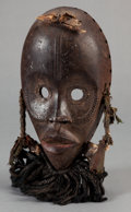 Tribal Art, Dan (Liberia or Côte d'Ivoire, Western Africa). Face mask. Wood,cloth, fiber and hair. Height: 12 inches. ...