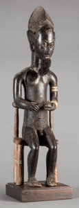 Tribal Art, Baule (Côte d'Ivoire, Western Africa). Male figure. Wood and fiber.Height: 20 inches. ...