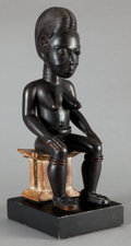 Tribal Art, Baule (Côte d'Ivoire, Western Africa). Female figure. Wood andpigment. Height: 18 inches. ...