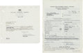 "Movie/TV Memorabilia:Documents, An Orson Welles Pair of Signed Documents Relating to ""The SteveAllen Show.""..."