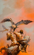 Paintings, BORIS VALLEJO (American, b. 1941). The Lavalite World, paperback cover, 1977. Acrylic on board. 25 x 16 in. (image). Sig...