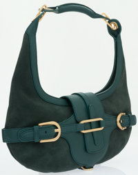 Jimmy Choo Green Suede Tulita Hobo Bag
