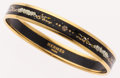 Luxury Accessories:Accessories, Hermes 65mm Black & White Enamel Bangle Bracelet with Gold Hardware. ...