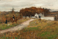 GEORGE HENRY BOUGHTON (American, 1833-1905) The Meet Oil on canvas laid on panel 10 x 14 inches (