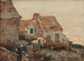 Fine Art - Painting, American:Modern  (1900 1949)  , ROY H. BROWN (American, 1879-1956). Brittany Village Scene,circa 1907-14. Oil on panel. 6-1/8 x 8-5/8 inches (15.6 x 21...