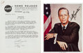 Autographs:Celebrities, Scott Carpenter Signed Mercury-Atlas 7 (Aurora 7) Press Kitand Color Photo. ... (Total: 2 Items)
