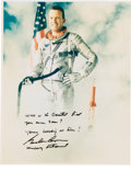 Autographs:Celebrities, Gordon Cooper Color Spacesuit Photo Signed adding Quote from TheRight Stuff. ...