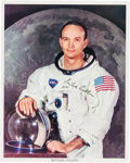 Autographs:Celebrities, Michael Collins Signed White Spacesuit Color Photo....
