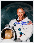 Autographs:Celebrities, Buzz Aldrin Signed White Spacesuit Color Photo. ...