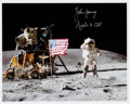 "Autographs:Celebrities, John Young Signed Lunar Surface ""Leaping Salute"" Color Photo...."
