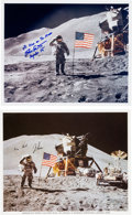 Autographs:Celebrities, Apollo 15 Moonwalkers: Individual Signed Lunar Surface ColorPhotos.... (Total: 2 Items)